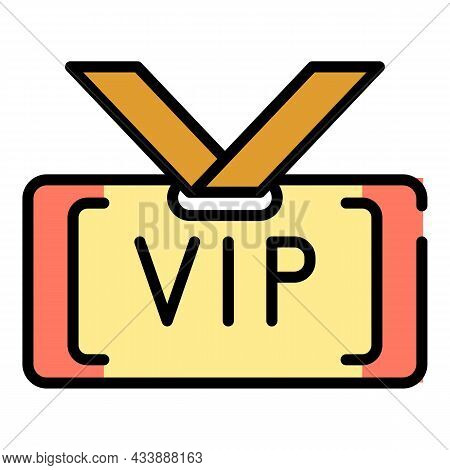 Vip Badge Icon. Outline Vip Badge Vector Icon Color Flat Isolated