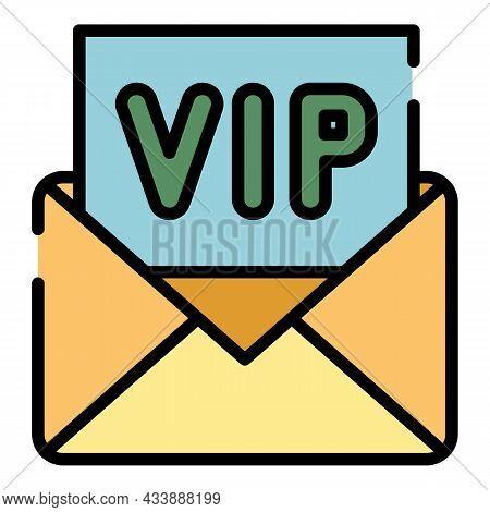 Vip Invitation Icon. Outline Vip Invitation Vector Icon Color Flat Isolated