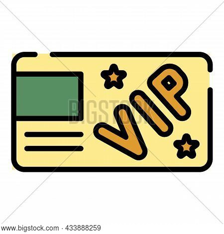 Vip Card Icon. Outline Vip Card Vector Icon Color Flat Isolated