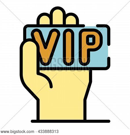 Vip Card In Hand Icon. Outline Vip Card In Hand Vector Icon Color Flat Isolated