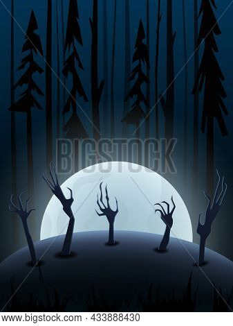 Halloween Vector Background With Dark Forest, Big Moon And Creepy Hands