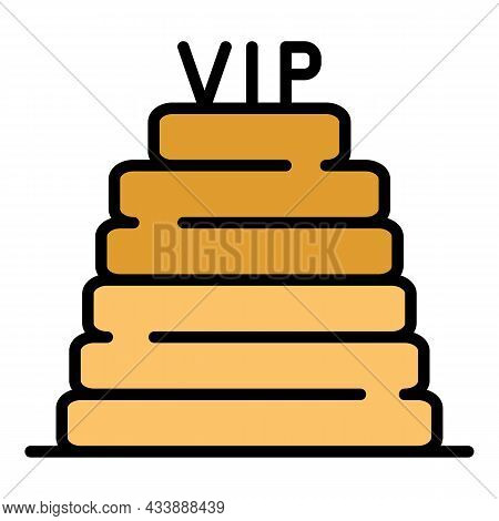 Vip Steps Icon. Outline Vip Steps Vector Icon Color Flat Isolated