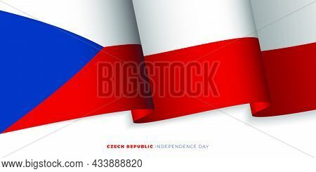 Waving Czech Republic Flag Design. Czech Republic Independence Day Background Template. Also Good Te