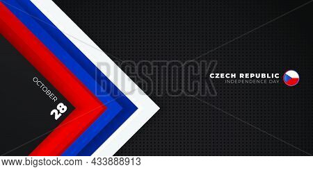 Geometric Red, White And Blue Vector Illustration On Black Background Design. Czech Republic Indepen