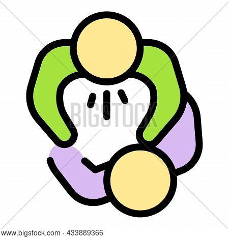 Stop People Violence Icon. Outline Stop People Violence Vector Icon Color Flat Isolated