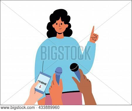 A Woman Speaks To Journalists. A Girl Gives An Interview, A Hand With A Dictaphone. Answer The Quest