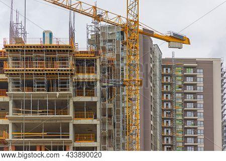 New Condo Buildings Apartments Construction Site Crane