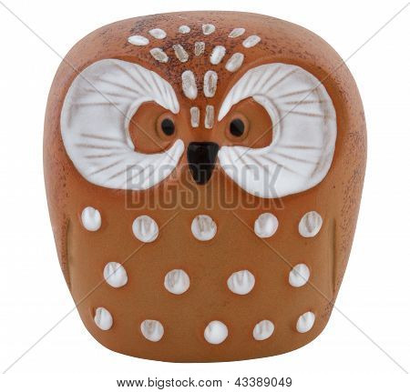 Clay Owl With Clipping Path