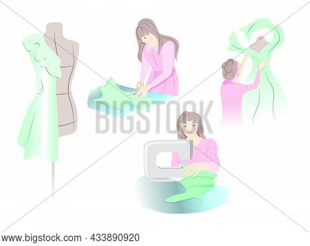 Female Business Concept. A Set Of A Seamstress At Work In Different Poses. Hobby. Sewing Machine. Du
