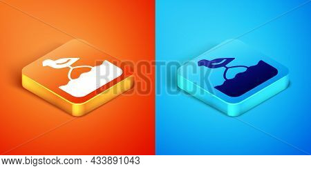 Isometric Seagull Sits On A Buoy In The Sea Icon Isolated On Orange And Blue Background. Vector