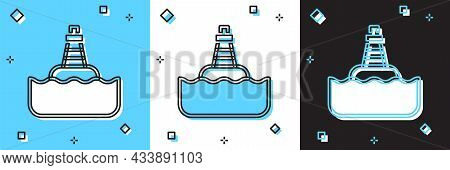 Set Floating Buoy On The Sea Icon Isolated On Blue And White, Black Background. Vector