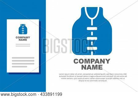 Blue Life Jacket Icon Isolated On White Background. Life Vest Icon. Extreme Sport. Sport Equipment.