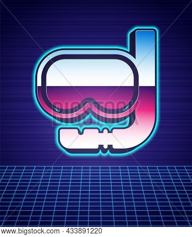Retro Style Diving Mask And Snorkel Icon Isolated Futuristic Landscape Background. Extreme Sport. Di