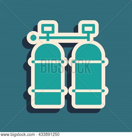 Green Aqualung Icon Isolated On Green Background. Oxygen Tank For Diver. Diving Equipment. Extreme S