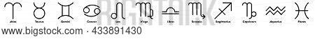 Zodiac Symbols. Set Od Twelve Astrological Signs. Simple Flat Vector Icons.