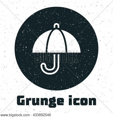 Grunge Umbrella Icon Isolated On White Background. Insurance Concept. Waterproof Icon. Protection, S