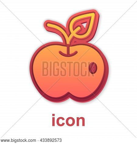 Gold Apple Icon Isolated On White Background. Excess Weight. Healthy Diet Menu. Fitness Diet Apple.