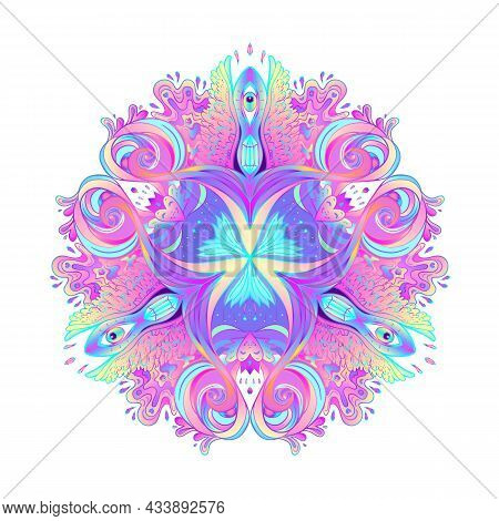 Sacred Geometry Symbol With All Seeing Eye In Acid Colors. Mystic, Alchemy, Occult Concept. Design F