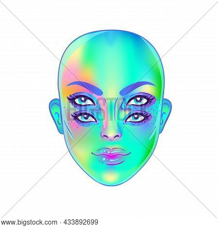 Gothic Witch Girl Head Portrait With Four Eyes. Vector Color Illustration. Halloween Costume Idea, T