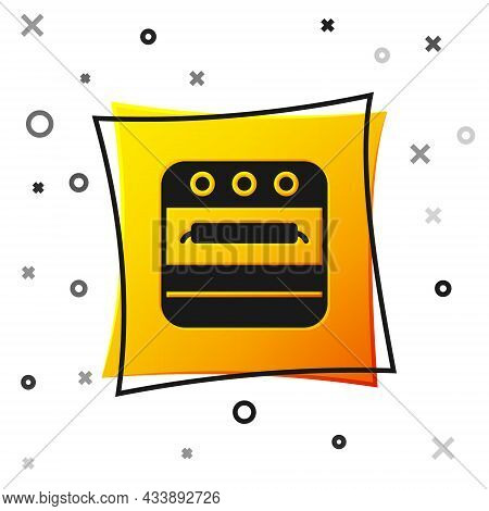 Black Oven Icon Isolated On White Background. Stove Gas Oven Sign. Yellow Square Button. Vector