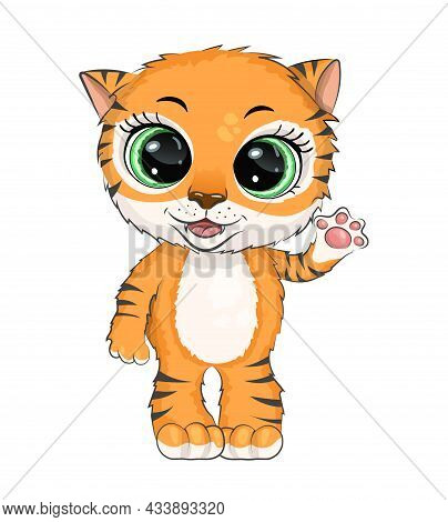 Small Cute Cartoon Tiger Cub Waves His Hand, Isolated On A White Background