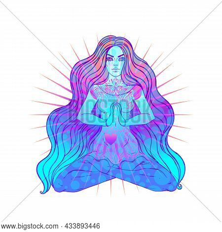 Beautiful Girl Sitting In Lotus Position Over Ornate Colorful Neon Background. Vector Illustration.