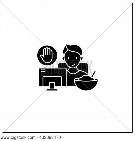 Mindful Eating Glyph Icon. Eating On The Couch, Watching Tv.eat Mindlessly, Unconscious Nutrition.he