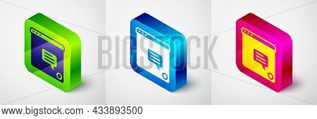 Isometric New Chat Messages Notification Icon Isolated On Grey Background. Smartphone Chatting Sms M