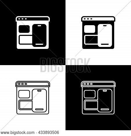 Set Software, Web Developer Programming Code Icon Isolated On Black And White Background. Javascript