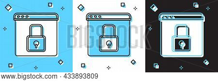 Set Secure Your Site With Https, Ssl Icon Isolated On Blue And White, Black Background. Internet Com