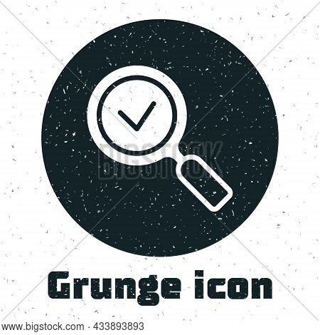 Grunge Magnifying Glass With Check Mark Icon Isolated On White Background. Search, Focus, Zoom, Busi