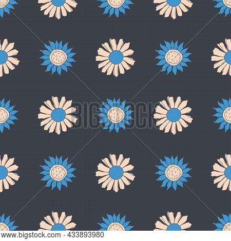 Seamless Vector Pattern With Simple Floral Daisy Designs.
