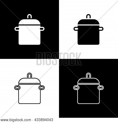 Set Cooking Pot Icon Isolated On Black And White Background. Boil Or Stew Food Symbol. Vector