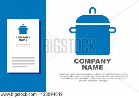 Blue Cooking Pot Icon Isolated On White Background. Boil Or Stew Food Symbol. Logo Design Template E