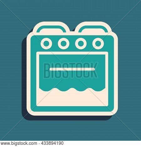 Green Oven Icon Isolated On Green Background. Stove Gas Oven Sign. Long Shadow Style. Vector