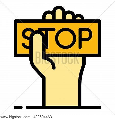 Stop Violence Icon. Outline Stop Violence Vector Icon Color Flat Isolated