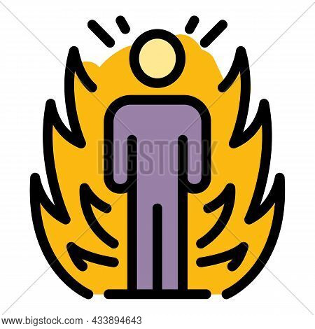 Stop Fire Violence Icon. Outline Stop Fire Violence Vector Icon Color Flat Isolated