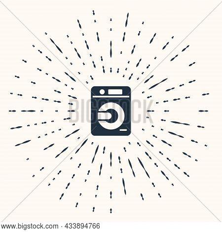 Grey Washer Icon Isolated On Beige Background. Washing Machine Icon. Clothes Washer - Laundry Machin