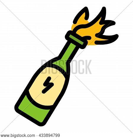 Stop Violence Fire Bottle Icon. Outline Stop Violence Fire Bottle Vector Icon Color Flat Isolated