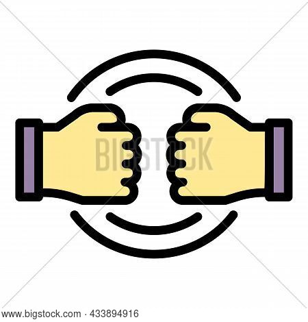 Stop Fight Violence Icon. Outline Stop Fight Violence Vector Icon Color Flat Isolated