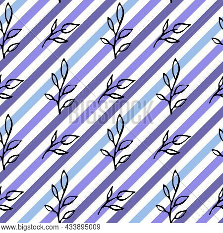 Blue Diagonal Stripes Seamless Pattern. Hand Drawn Doodle Black Ink Brush Stroke Leaves. White Color