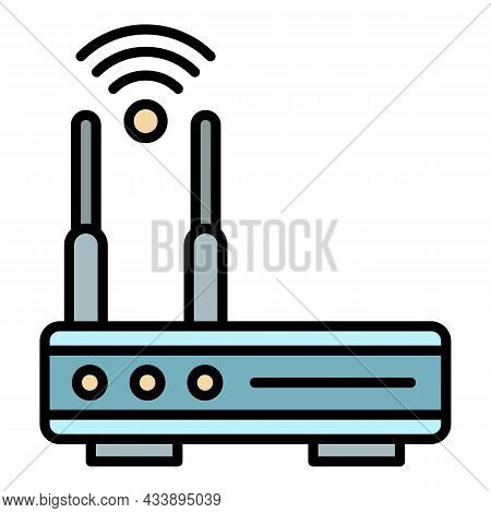 Router Icon. Outline Router Vector Icon Color Flat Isolated