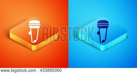Isometric Microphone Icon Isolated On Orange And Blue Background. On Air Radio Mic Microphone. Speak