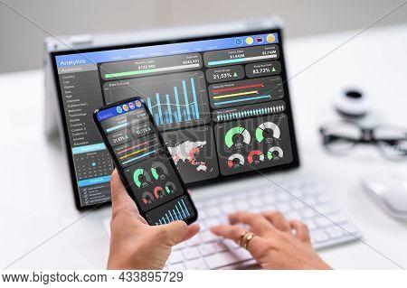 Kpi Business Analytics Data Dashboard. Analyst Using Computer