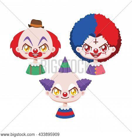 Collection Of Three Creepy Cartoon Halloween Clowns