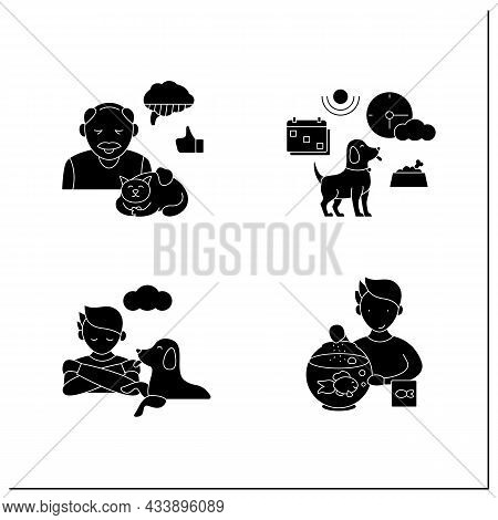 Pets Benefits Glyph Icons Set. Fish Feed, Ease Loneliness, Help Adults With Alzheimer Disease, Chang