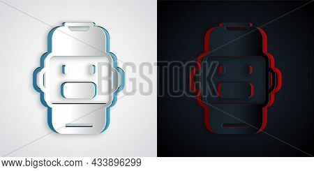 Paper Cut Chat Bot Icon Isolated On Grey And Black Background. Chatbot Icon. Paper Art Style. Vector