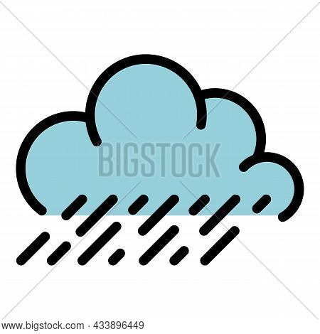 Rainy Cloud Icon. Outline Rainy Cloud Vector Icon Color Flat Isolated