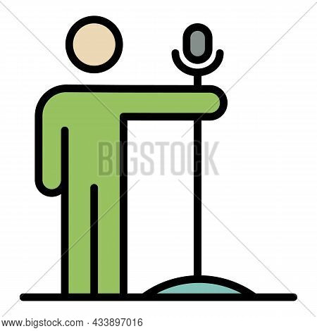 Guy With A Microphone Icon. Outline Guy With A Microphone Vector Icon Color Flat Isolated