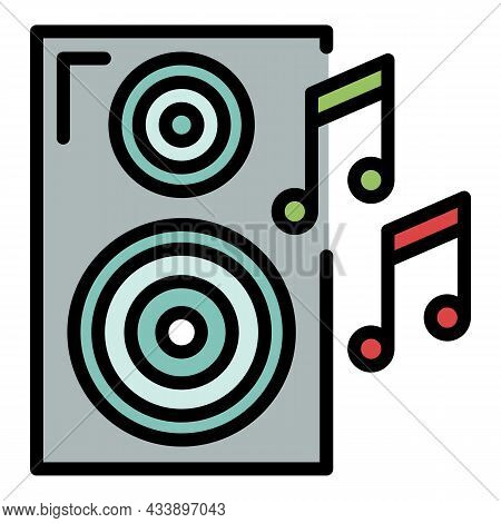 Music Column Icon. Outline Music Column Vector Icon Color Flat Isolated